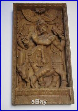 37 Inches Vintage Wood Carving Sculpture Icon Hindu Temple Idol Statue Krishna