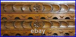 4 Castle battlement wood carving pediment Antique french architectural salvage