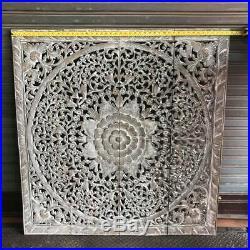 4-Feet Teak Wood Carving Wall Bed Headboard White Wash Floral Art Panel