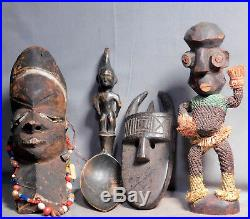 4 Vintage African Mask Beads Wood Carving Woven Grass Spoon Effigy Sculpture 70s