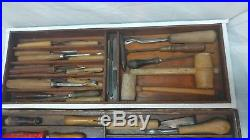 40 pc Woodworking Wood Sculpture Chisels Gouge Turning Carving Tools withbox VTG