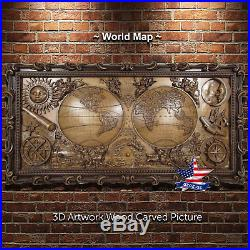 53/151cmWorld MapWood carved 3D ARTWORK icon sculpture painting picture