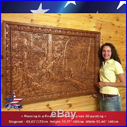 56-40Wood carved picture Morning in a Pine Forest-painting-sculpture-icon-art
