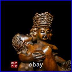 6 Tibet Buddhism Boxwood Wood Carving Yab-Yum Mandkesvara Happy Buddha Statue