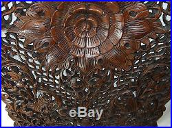 70 x 120 cm Lotus New Wood Carving Home Wall Panel Mural Decor Art Statue gtahy