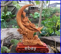 9 Chinese Natural Boxwood Carving Moon Goddess Chang'e Rabbit Fairy Statue