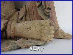 A Chinese Large Wood Carving Kwan-Yin/ Guan-Yin Buddha Sculpture