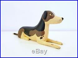 ANTIQUE AMERICAN FOLK ART WOOD CARVING SET Signed Primitive Sculpture Cat Dog