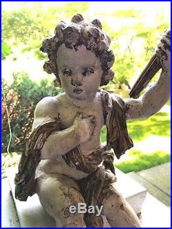 ANTIQUE ITALIAN CARVED WOOD SCULPTURE SEATED PUTTI ANGEL Architectural Element