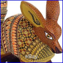 ARMADILLO Oaxacan Alebrije Wood Carving Handcrafted Mexican Folk Art Sculpture
