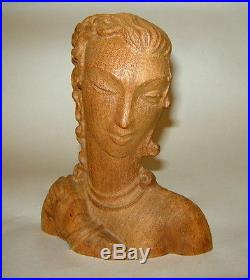 ART DECO Carved Wood Sultry Girl Woman 6 1/2 Head Sculpture Plaque French
