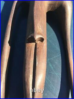 Abstract Brutalist Hand Carved Wood Art Sculpture Vintage Picasso Esque Face