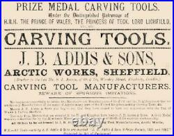 Addis Sheffield Vintage Set of 7 Gouges, Wood Carving Tools Boxwood Handles