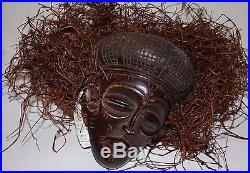 African Brown Tribal Carved Wood Mask Chokwe Mwana Pwo Angola Figure Sculpture