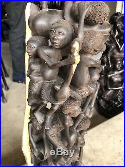African Makonde Family Tree of Life Museum Ebony Wood Carving Sculpture. Huge