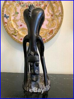 African Tribal Carved Wood Figure Sculpture