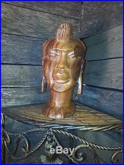 African Woman Carved Ebony Wood Art Statue Sculpture Bust Tribal Folk decor