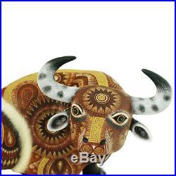 Alebrije Oaxacan Wood Carving Bull Sculpture by Rocio Fabian Melchor 13 X 9.5