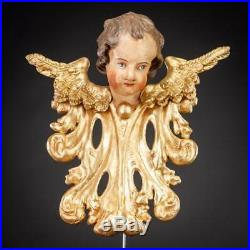 Angel Sculpture Antique 1700s Wood Carving Statue 18th Century Figure 14
