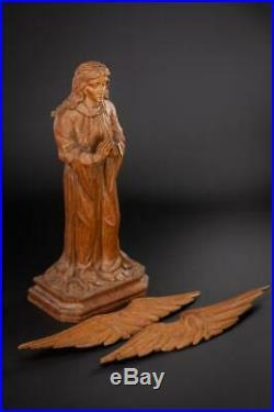 Angel Sculpture Archangel Statue Antique Carved Wood Figure Religious 20