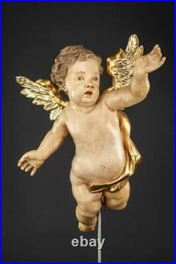 Angel Sculpture Baroque Wood Carving Statue Antique Wooden Archangel 20