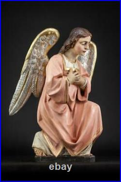 Angel Sculpture Pair Wooden Antique 18th / 19th Cent Church Wood Carving 18.3
