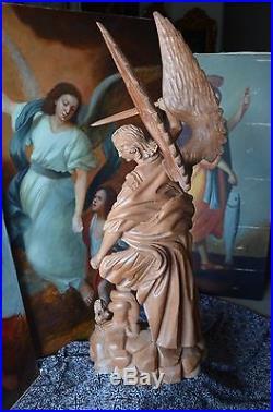 Angel Statue Hand Carved Wood Saint Archangel Michael Sculpture Religious 49'