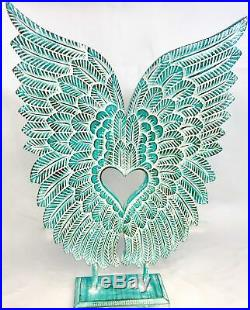 Angel Wings Sculpture Statue Washed Teal Hand Carved Wood Bali Art Decor