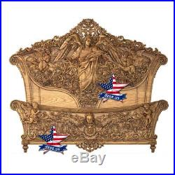 Angel bed Carved wood furniture artwork sculpture picture painting icon decor 3d