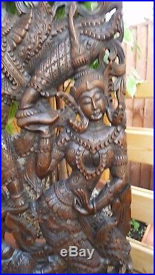 Angels On Elephant Wall Decor Teak Wood Art Sculpture Relief Panel Carving 4ft