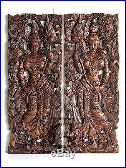 Angels hold Lotus New Wood Carving Home Wall Panel Mural Decor Art Statue gtahy