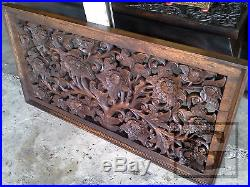 Anique Flower Garden Wood Carving Home Wall Panel Hanging Decor Art Statue gtahy