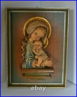 Anri Italy Ferrandiz Wood Carving Framed Plaque Madonna Child Mary Jesus Wall