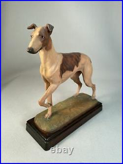 Anri Italy Wood Carving Of A Greyhound Dog By Helmut Diller, Large Size, Superb