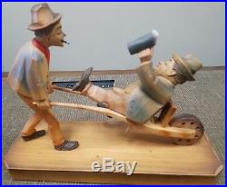 Anri wood carved sculpture 2 men and wheelbarrow