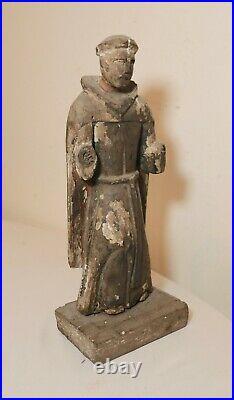 Antique 1700's carved wood polychromed religious Santos saint sculpture statue