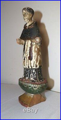 Antique 1700's carved wood religious Santos saint Francis sculpture statue Italy