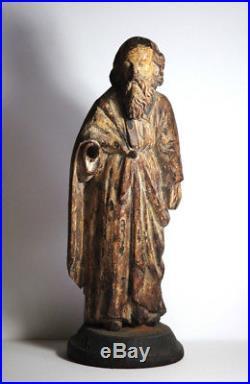 Antique 17th Century Spanish Carved Saint Wood Figure Polychrome Sculpture