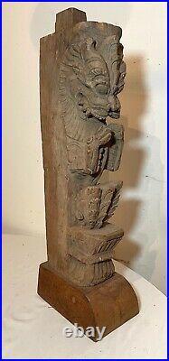 Antique 1800's carved wood Tibetan sculpture dragon architectural salvage art