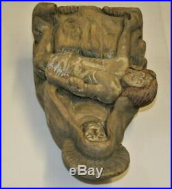 Antique 19th Century Carved Wood Pieta Sculpture Mery Holding Christ Statue 10in