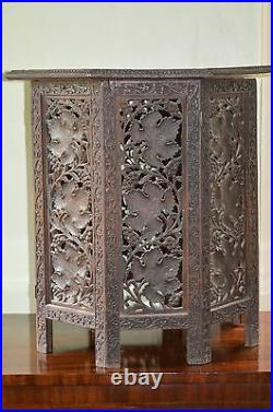 Antique 19th Century Indian Intricately Carved Hexagonal Side Table, c1880