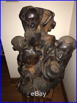 Antique African Huge Tree Of Life Ebony Makonde Carved Art Wood Sculpture Large