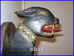 Antique American Folk Art Pitbull Dog Masterpiece Jewel Collar Original Paint