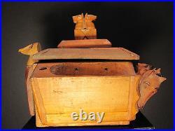 Antique American Folk Art Wood Tobacco Rack Cat Fox Dog Horse Sailor Eagle Ia