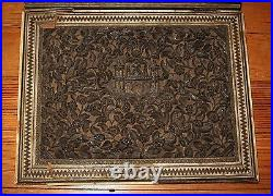 Antique Asian Anglo Indian Carved Book Cover Inlaid Oriental