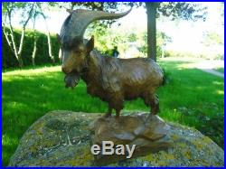 Antique Black Forest Carved Wood Sculpture Billy Goat-ibex-gothik-stone Goat