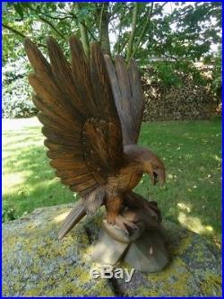 Antique Black Forest Carved Wood Sculpture Of A Eagle-wood Carving-wood Figure