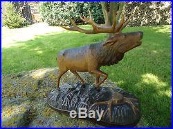 Antique Black Forest Carved Wood Sculpture Red Deer-red Stag-antlers-deer-rare