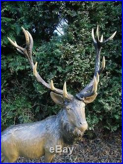 Antique Black Forest Carved Wood Sculpture Red Stag-masterwork-enormous-antlers