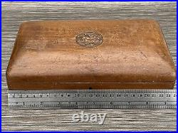 Antique Box Lloyds Bank 1677 Horse Carving Superb Wood Made With Key & Lock